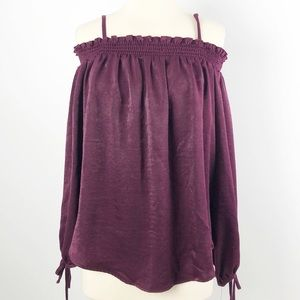 BCX Off The Shoulder Top Blouse Red Wine Size XL